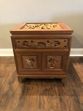Vintage Hand Carved wooden Oriental Asian scene end table w/drawers