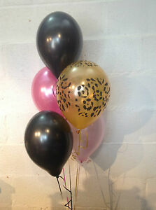 30 Leopard Print Black, Hot Pink & Pale Pink Pearlised Latex Balloons