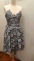 TWO SISTERS White & Black Lacey Floral High Low Dress Size 6 New