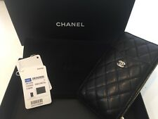 NEW CHANEL IPHONE PLUS CASE WALLET BLACK LEATHER BURGUNDY GOLD METAL ZIP POCKET