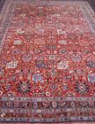 EXQUISIT ANTIQUE BIJARR HAND KNOTTED WOOL ORIENTAL RUG CLEANED 8.8 x 12.6