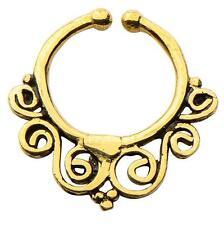 Brass Faux septum nose ring clicker body jewelry piercing prong ear lip w140