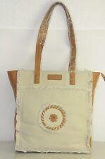 New Jack Rogers rondelle Tote cognac brown leather Linen 2 Handle bag