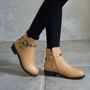 New Women's Lady Round Toes Flats Heel Zip Buckle Casual Ankle Boots Shoes