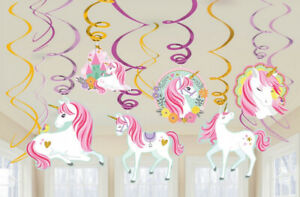 Unicorn Party Supplies - Magical Unicorn Party Swirl Hanging Decorations 12 Pack