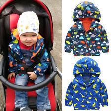 UK STOCK Kids Boy Waterproof Windproof Hooded Rain Coat Jacket Outerwear Clothes
