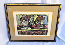 Vintage Woodblock Lithograph Trail Proof AT THE PUPPET SHOW Irving Amen