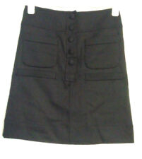 BNWT French Connection Wool Black Pencil Popper Skirt UK Size 8 RRP £60