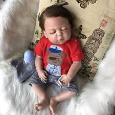 "18"" Bathable Lifelike Reborn Baby Dolls Preemie Boy Full Body Silicone Bebe Gift"