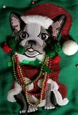 French Bulldog Frenchie Ugly Christmas Sweater Womens XL Boston Terrier