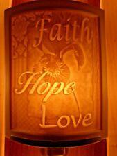 Porcelain Garden Lithophane Night Light Hand Made NR247 FAITH HOPE LOVE Country