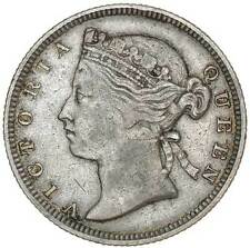 1877 Straits Settlements 20 Cents Silver Coin Queen Victoria Low Mintage Scarce