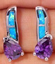 STUNNING Simulated Purple Amethyst & Blue Fire Lab Opal Fashion Stud Earrings