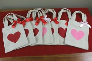 7 - NEW Small Canvas Tote Gift Bags Hearts Gifts Birthday Etc