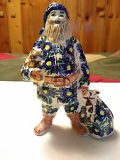 "Bunzlauer Keramik Polish Pottery Santa Claus Figurine 9"" Boleslawiec Poland"
