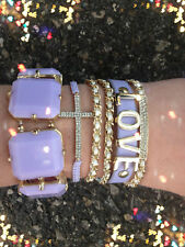 Bracelet Arm Candy Stack Lavender Love Chunky Gem Cross Chain Rhinestone Set New