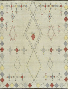 Moroccan Beni Ourain Rug, 8'x10', Ivory, Hand-Knotted Wool Pile