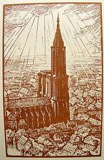 HALLO CHARLES JEAN. Gravure sur bois originale. Strasbourg, Impressions d'aviate