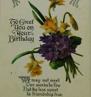 To Greet You On Your Birthday Poem Flowers Posted Divided Back Vintage Postcard