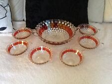 Retro red stripe glass trifle bowls/punch bowls