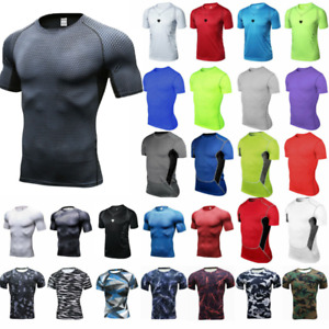 Herren Compression Base Layer Fitness Sport Muskel Kurzarm Sommer T-Shirt Tops