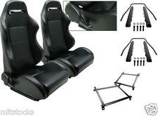 2 BLACK LEATHER RACING SEATS RECLINABLE w/ SLIDER + BRACKETS ACURA 90-93 INTEGRA