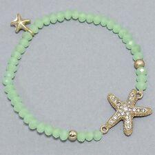 Matte Goldtone Crystal Starfish Stretch Bracelet