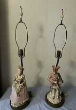Antique Pair French Provincial (Kode?)Colonial Soft Paste Porcelain Table Lamps
