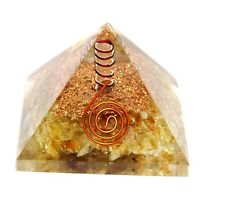 REIKI CHARGED LARGE CITRINE & CLEAR QUARTZ CRYSTAL ORGONE PYRAMID POWERFUL