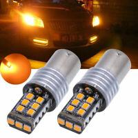 2x Amber Orange 1156 P21W 3157 BA15S 15SMD 2835 LED Bulbs For Turn Signal Lights