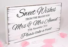 Personalised  Sweet Wishes Free Standing Vintage Wedding Sign Shabby but Chic