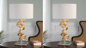 "TWO TWISTED MODERN FARMHOUSE 29"" BRIGHT GOLD LEAF VINES TABLE LAMP UTTERMOST"