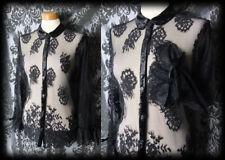 Gothic Black Sheer Lace WICKED WAYS Velvet Trim Blouse 8 10 Victorian Vintage