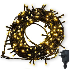 200 LED 22m Warm String Fairy Lights On Dark Green Cable 8 Light Modes Christmas