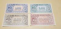 Banconote Gioco da Tavola Paperopoli Disney - Set Completo 4 tagli diversi