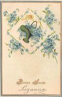 carte fantaisie - BONNE ANNEE - Panier de fleurs bleues et ruban jaune