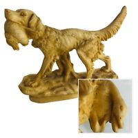 A Santini Signed Spaniel Hunting Dog Statue Figurine Carrera Marble Italy 8-inch