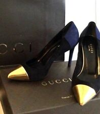 Gucci Women's Shoes Heel Pump Blue Black Gold Leather Suede IT 36 US 6 Authentic
