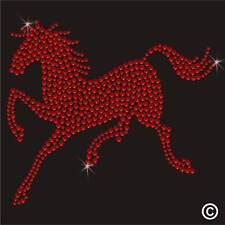 Cristal Hierro en Motivo Caballo rojo Rhinestone Diamante transferencia Hotfix Apliques Gem
