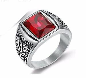 Men Rectangle Red Cubic Zircon Stone Leaf Silver Stainless Steel Ring 8-12
