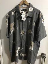 Quiksilver NEW San Miguel 2XL Waterman Printed Hawaiian Tuna Shirt AQMWT03072
