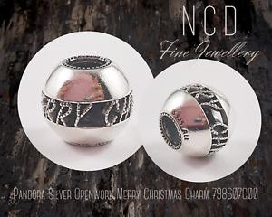 NC Designs Authentic Pandora Silver Openwork Merry Christmas Charm 798607C00