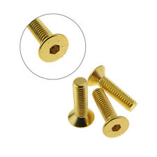 M2.5 8mm Hex Socket Flat Head Screw Bolt DIN7991 Gold Chromate - QTY(5)
