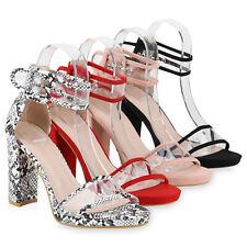 Damen High Heels Sandaletten Transparente Blockabsatz Party 831719 Schuhe
