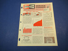 Champion Spark Plug Service Corner Sept-Oct 1963 Wont Start? Think Plugs!