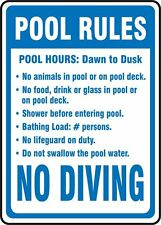 """Pool Rules hours swimming NO DIVING warning safety 8"""" x 12"""" Aluminum Sign USA"""