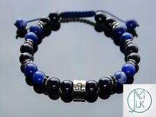 Leo Tourmaline Sodalite Birthstone Bracelet 7-8'' Macrame Healing Stone Chakra