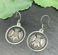 Taxco Mexican Aztec Earrings 950 Sterling Silver Mexico Jewelry Tribal