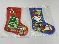 VINTAGE PEANUTS SNOOPY CHRISTMAS Mini STOCKINGS Charlie Brown COTTON 1950-60