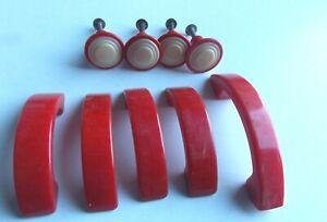 9 Vintage Retro Red Plastic Chrome Kitchen Drawer Cabinet Pulls Handles